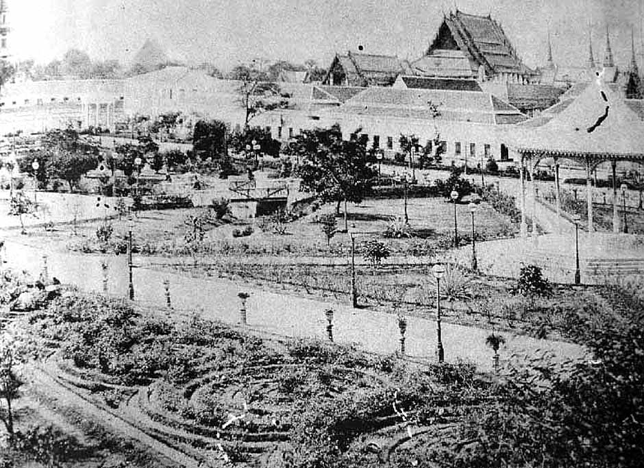 Early [unfinished] views of the gardens at Sanam Luang, 1882.jpg