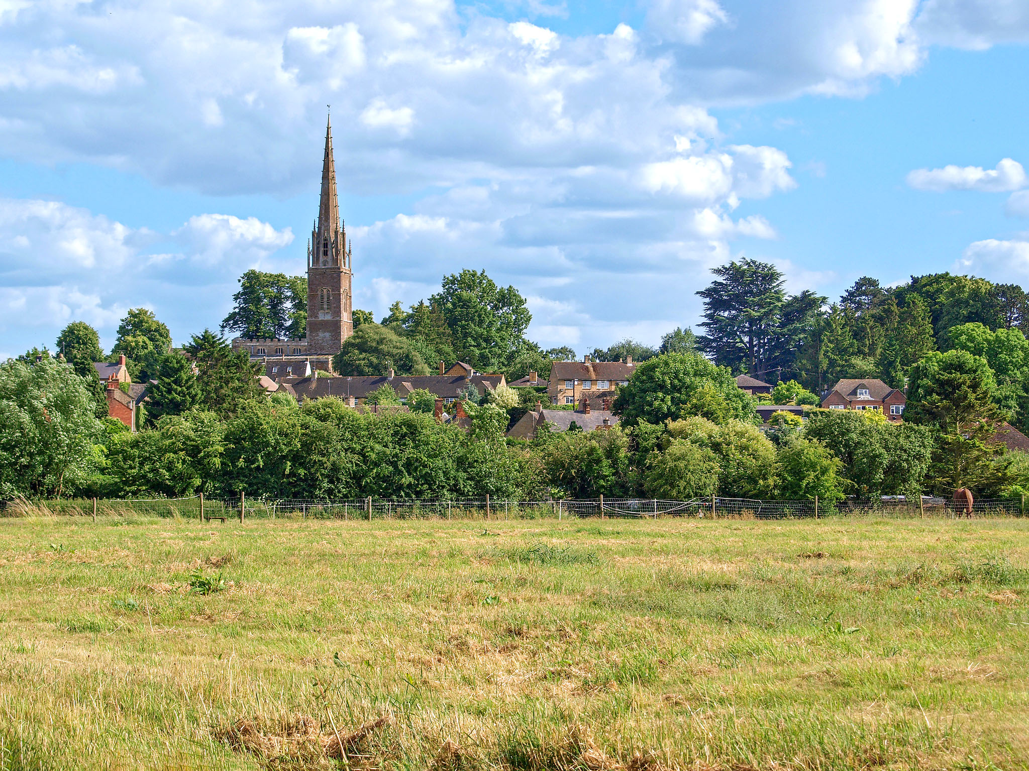 King's Sutton from the Cherwell water meadows, Northamptonshire by Andrew S Brown.jpg