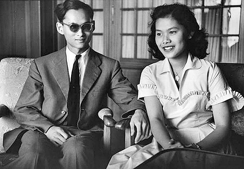 1950 14 January, HM King Bhumibol and his young fiancee' in Lausanne, Switzerland.jpg