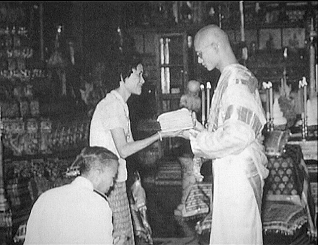 HM King Bhumibol Adulyadej Monk Ordination.jpg