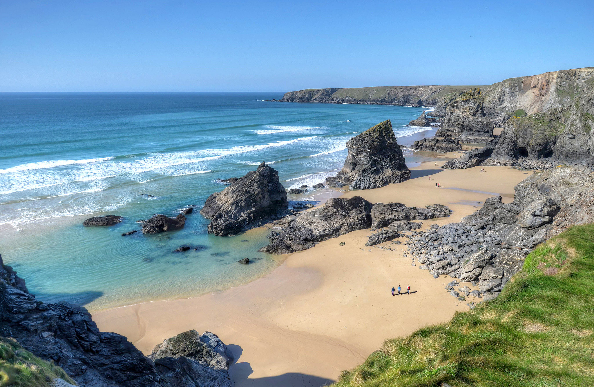 The beach at Bedruthan Steps, North Cornwall by Baz Richardson.jpg