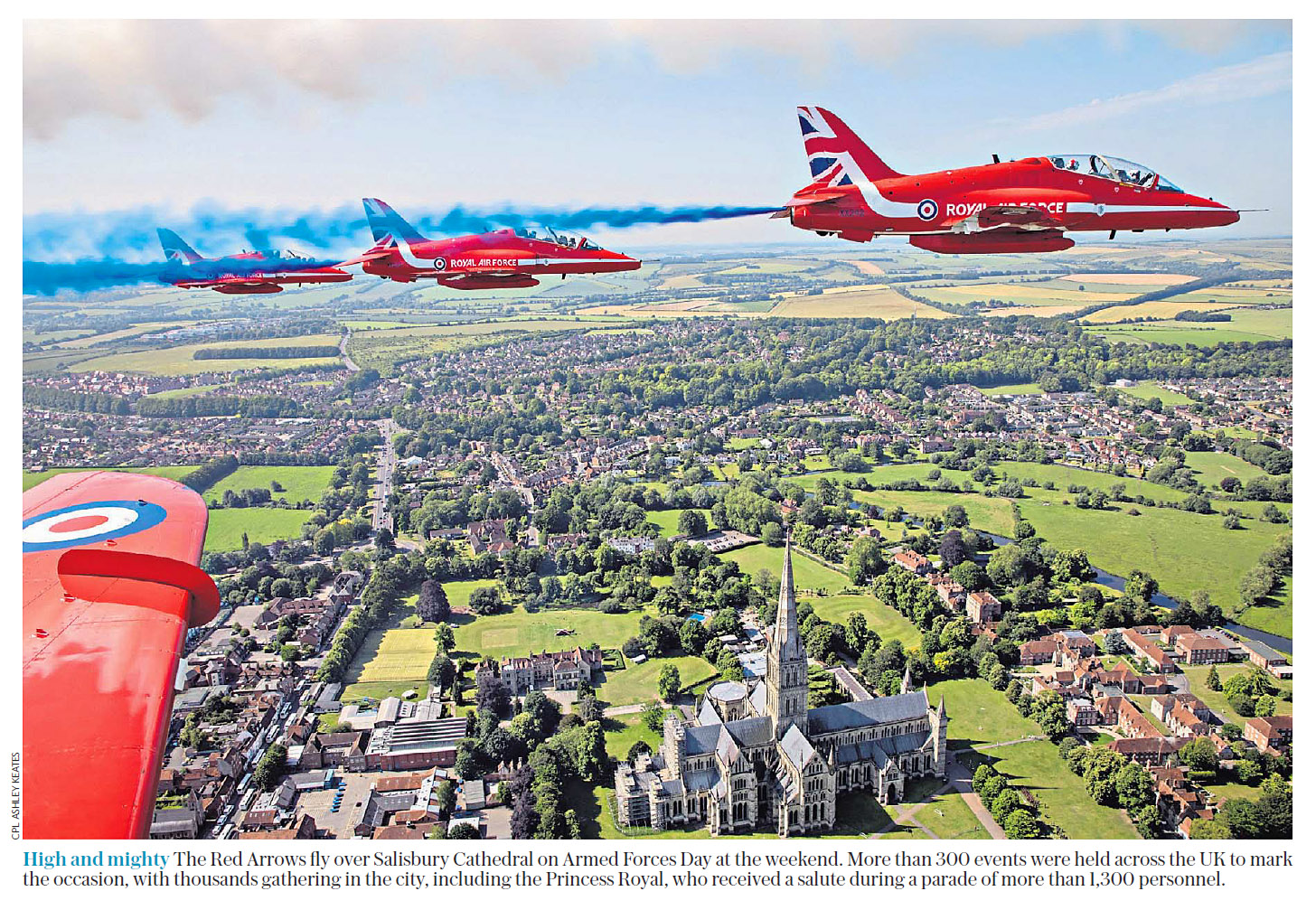 The Red Arrows fly over Salisbury Catherdal on Armed Forces Day.jpg