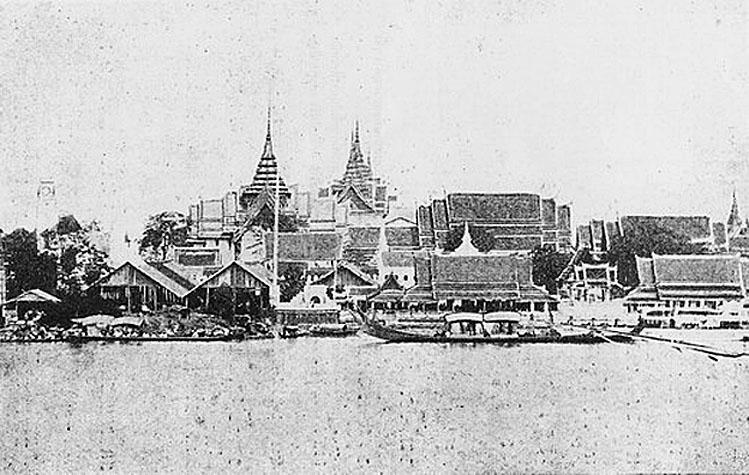 1872 Wat Ratchaworadit Pier below The Dusit Palace and The Chakri Throne Hall.jpg