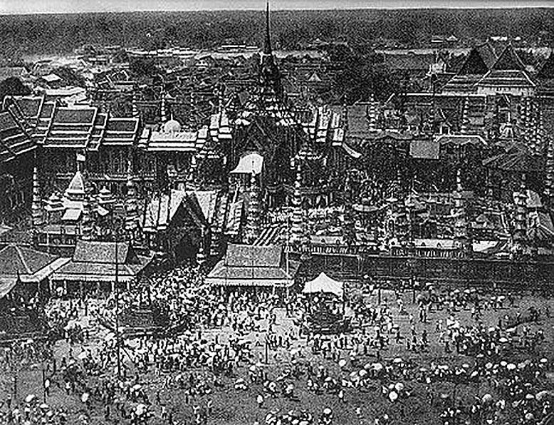 1869 Cremation Ceremony of King Mongkut on the Phramen Sanam Luang grounds.jpg