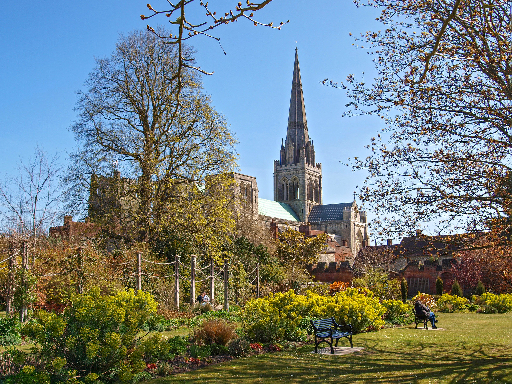 Chichester Cathedral from the Bishop's Palace Gardens. West Sussex by Andrew S Brown.jpg