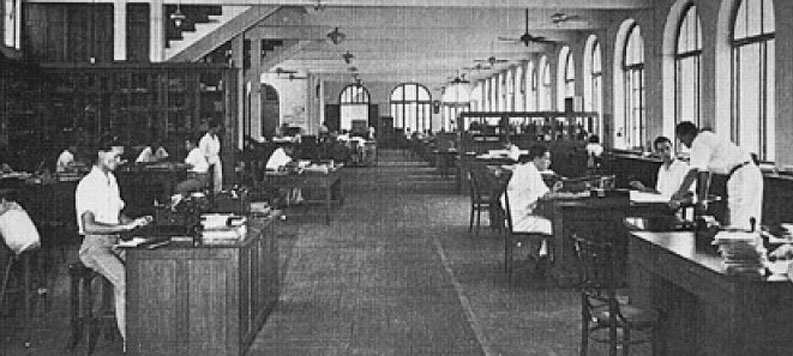 1952 Inside workings at the Bank of Indochina.jpg
