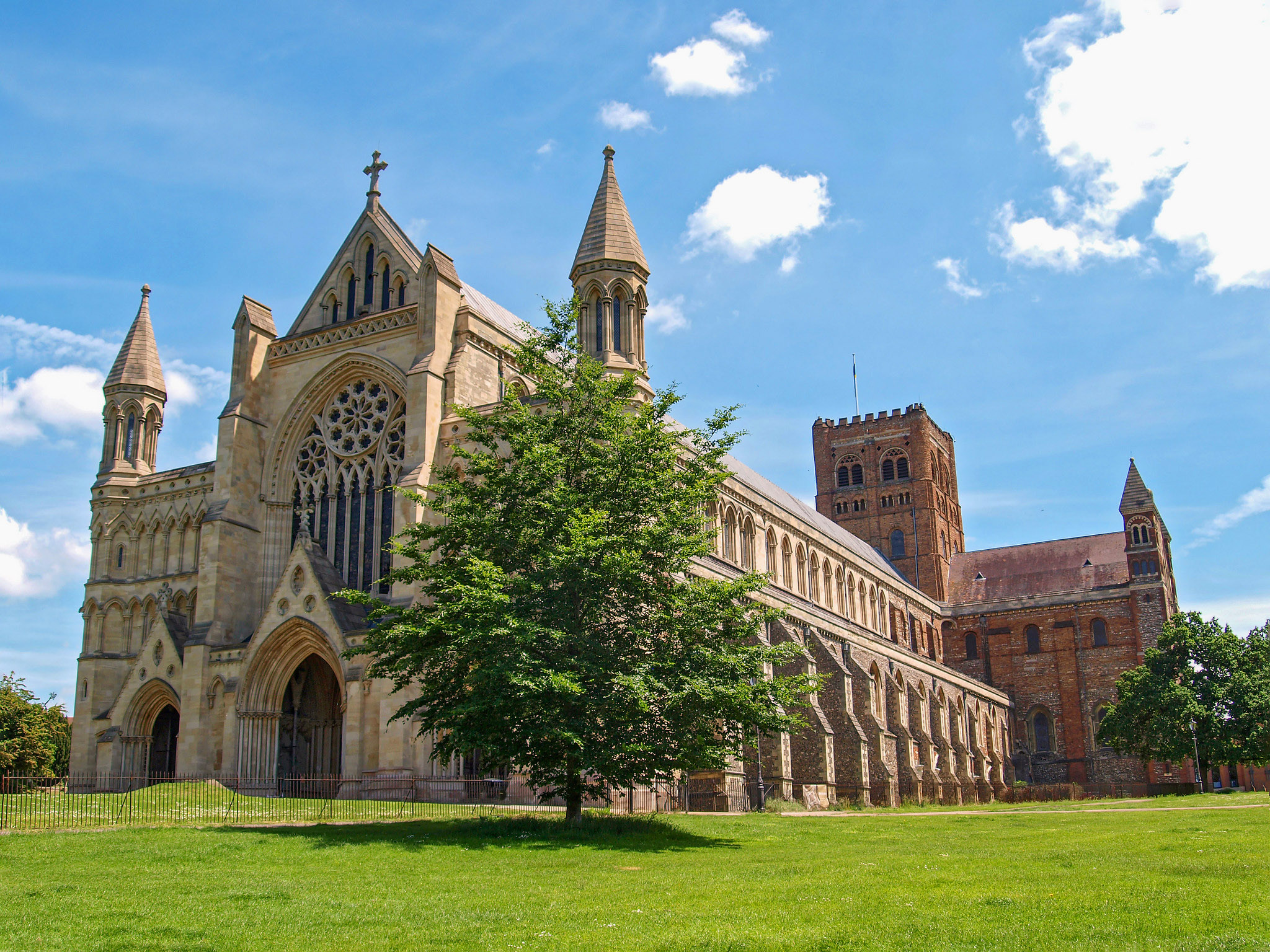 St Alban's Cathedral, built as a shrine to England's first Christian Martyr and Saint by Andrew S Brown.jpg