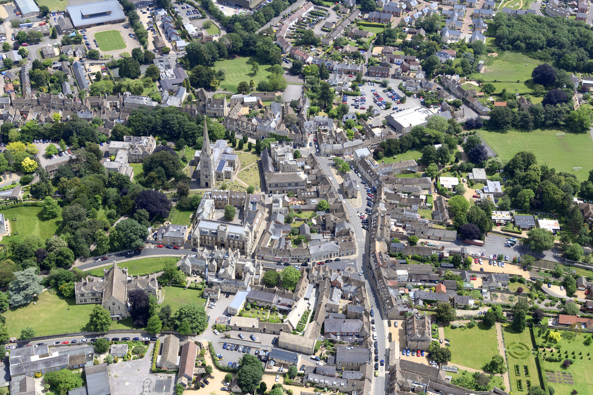 Aerial view of Oundle in Northamptonshire by John Fielding.jpg