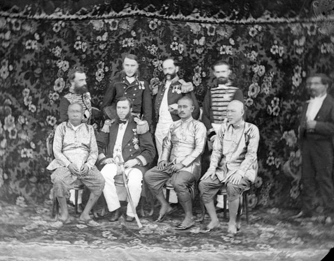 1869 Austrian Ambassador, Karl Von Scherzer [second from left - back row], and other Austrian dignitaries pose with assorte.jpg