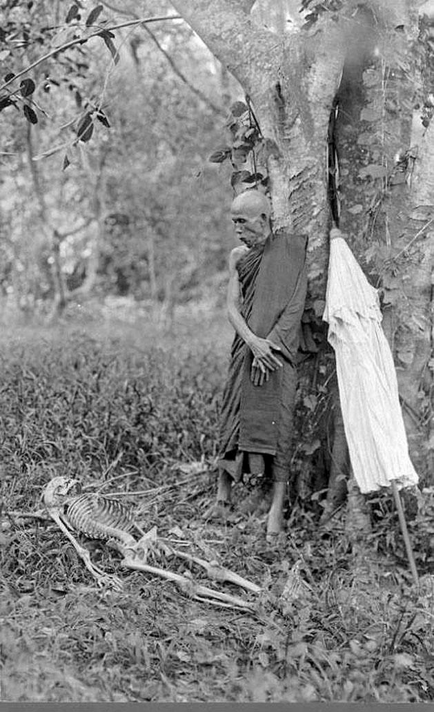 1890 The Abbot of Wat Phra Phutthabat, Saraburi, with found skeleton outside the Wat grounds.jpg