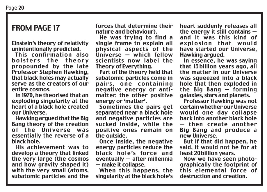 Daily Mail April 11 2019 Black Hole 2.jpg