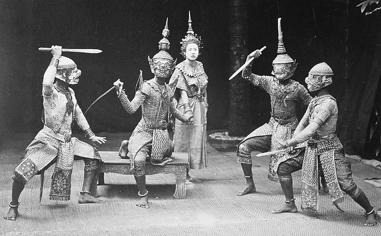 1895 Players of traditional Khon Mask Lakorn.jpg