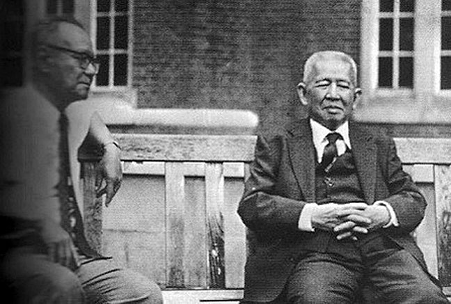1974 Exiled Thais Pridi Banomyong {right} and Puey Ungpakorn at Imperial College, University of London.jpg