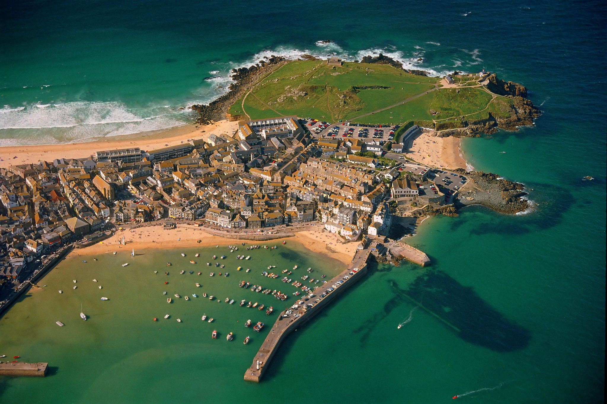 St Ives, Cornwall from the air by Carbis Bay Holidays.jpg