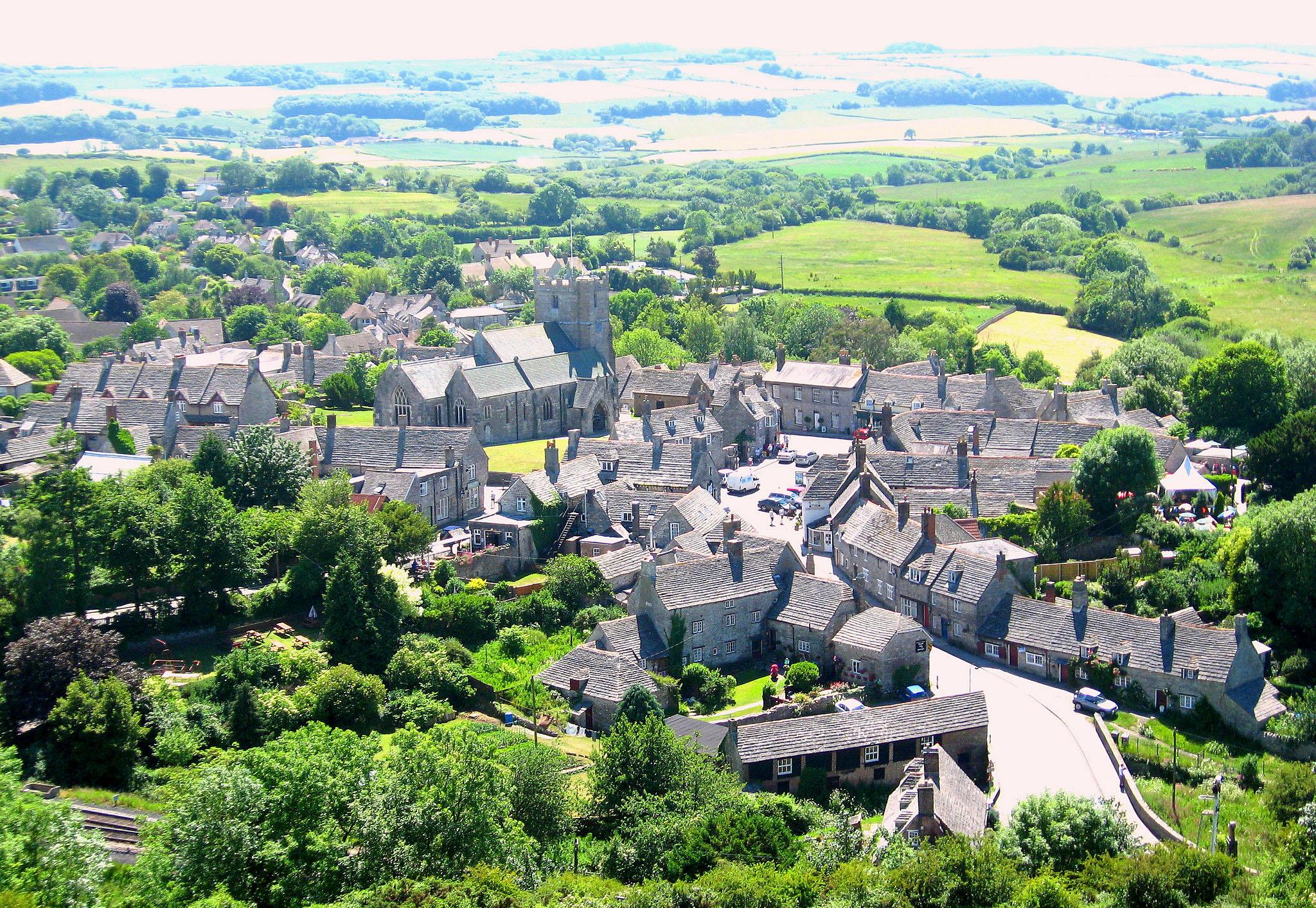 Corfe Castle Village, Dorset by East Med Wanderer.jpg