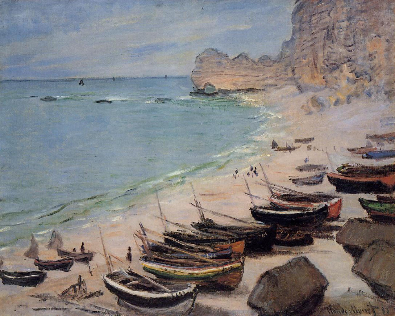 Monet-boats-on-the-beach-at-etretat