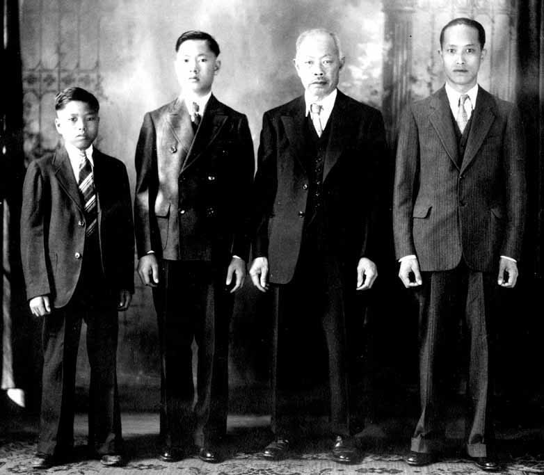 The Chins in 1937 : Dad, Gan Fu, Great Grandpa Chin, Great Uncle Chin