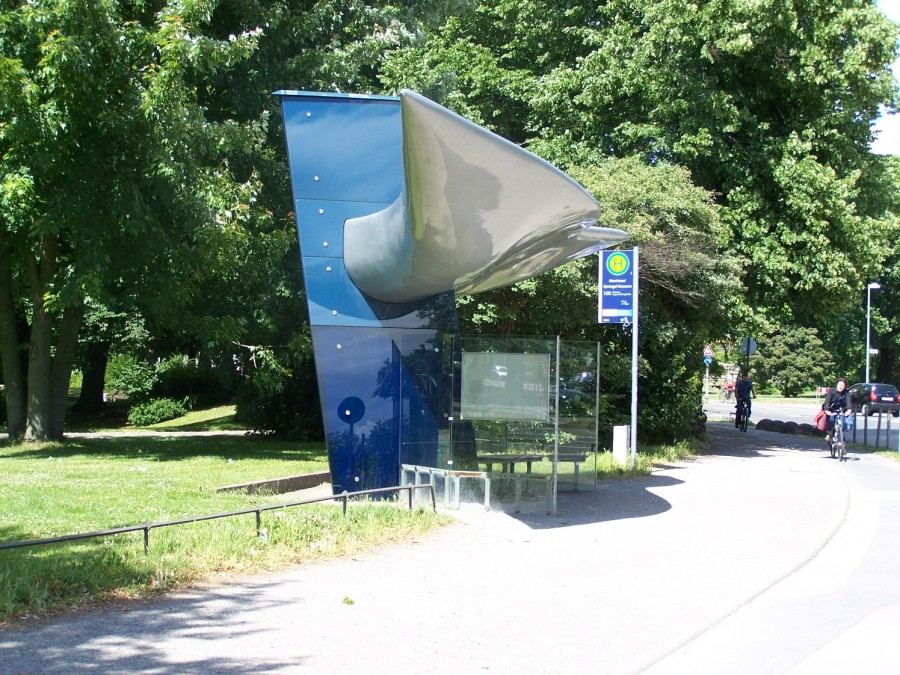 Bus stop at the Kurt Schwitters square in Hannover