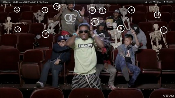 lil waynes latest video shows 12 skeletons in a movie