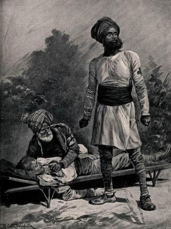 Индийский санитар под огнем. Худ. Р.К. Вудвиль.