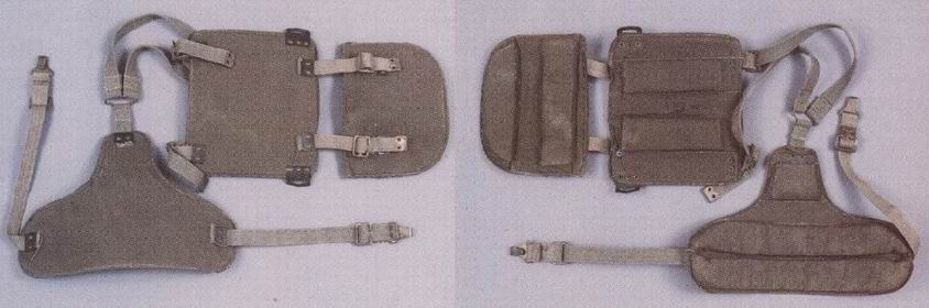 Бельгийская броня - идентична британской, но есть отличия. Цвет более зеленый, чем хаки, другие заклепки и крючки на ремнях.