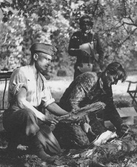 Десантник в броне охраняет пленных. Арнемская операция, 1944г.