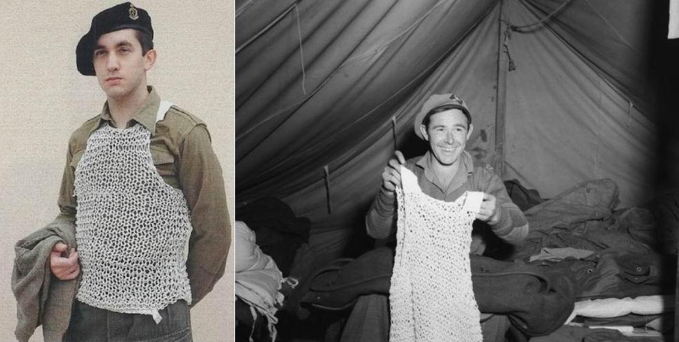 Корейская война. Реконструктор, 1й б-н Миддлсекского полка, 27я бригада. Новозеландский солдат впервые получил сетчатый жилет, октябрь 1951г.