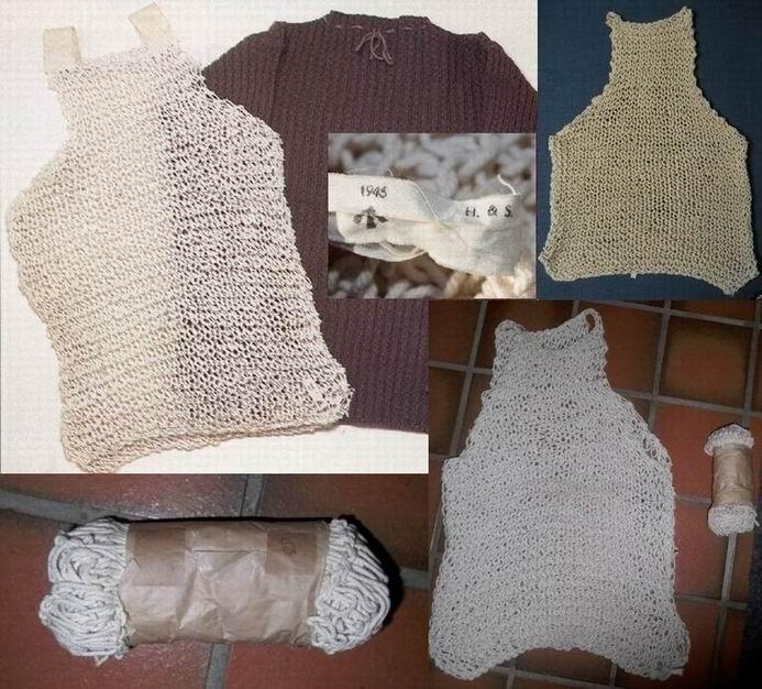 Образцы сетчатых жилетов времен ВМВ - с плечиками (самый распространенный вариант) и без, этикетка и жилет в упаковке.