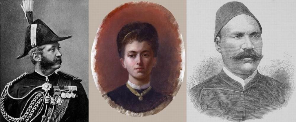 Э.Томпсон, леди Батлер (в центре), слева ее муж, генерал-лейтенант сэр У.Ф.Батлер (здесь- подполковник, 1883), справа - Ахмед Ораби-паша в 1882г.