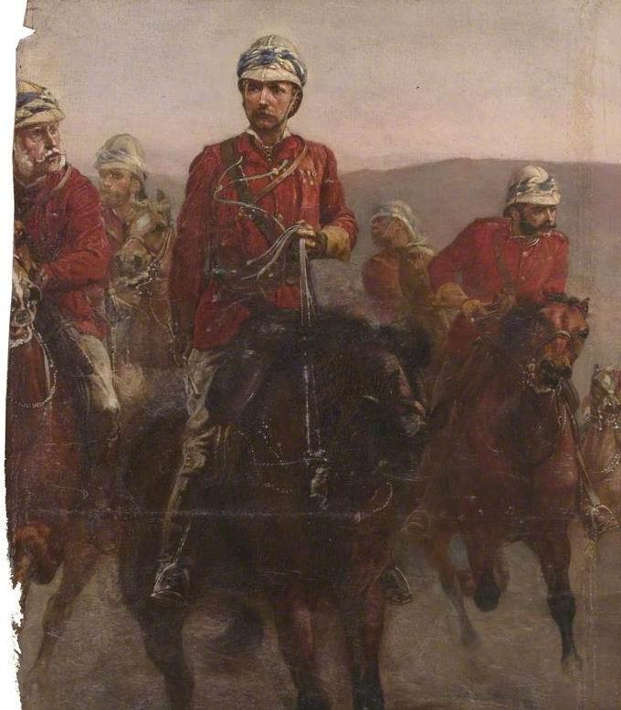 Сохранившийся фрагмент. В центре - командующий Г.Д.Уолсли, слева его заместитель сэр Джон Адай, между ними - генерал-майор герцог Коннаутский, справа - муж художницы подполковник У.Батлер.