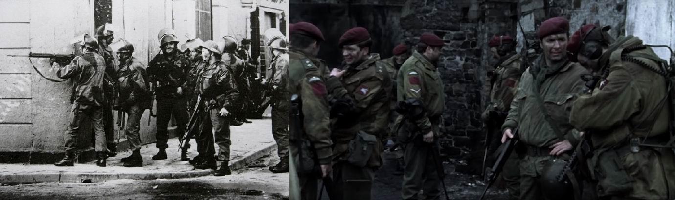 """Справа кадр из фильма """"Кровавое воскресенье"""" 2002г. про события в Северной Ирландии 1972г."""