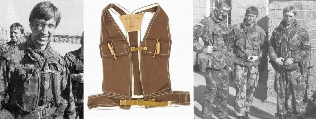Коммандос из прошлой заметки носил «Штурмовую каркасную сбрую» 1го типа – упрощенный вариант «боевого джеркина (безрукавки») времен ВМВ. И видимо, в том числе, для того чтобы освободить спину и нормально сидеть в бронемашине.