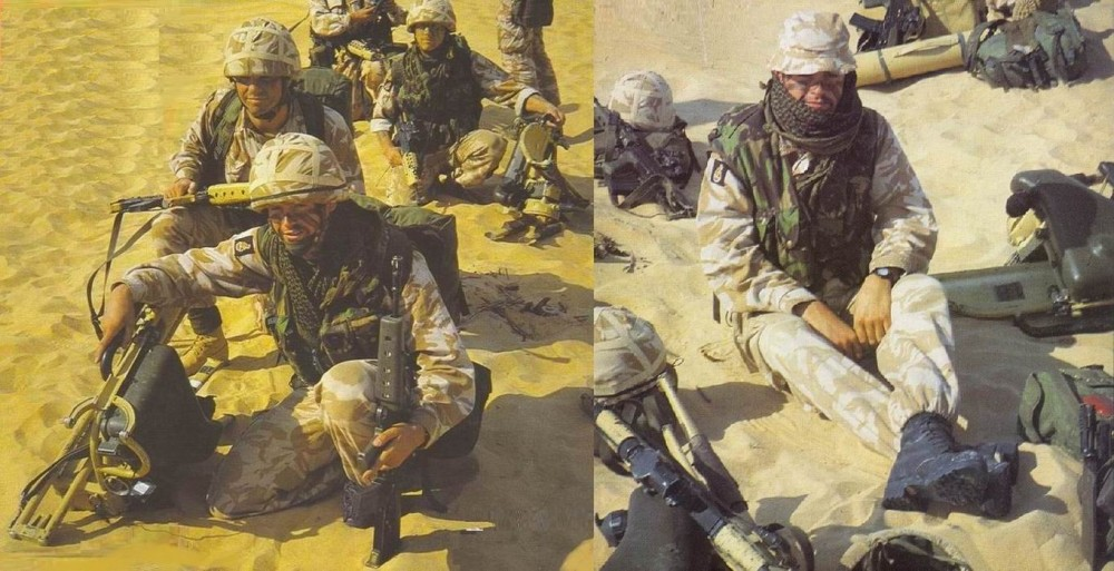 Обычно эти фотографии считаются Стаффордширским полком. На самом деле- это прикомандированные к нему на время Бури в пустыне Королевские зеленые куртки. Жилеты SASS носились у них со времен учений в Канаде в 1988г.
