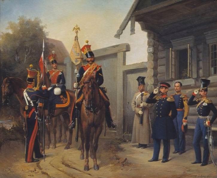 Изображен вынос полкового штандарта во время летних маневров.