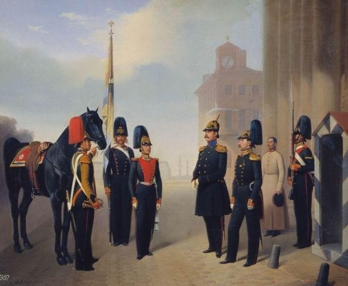 Лейб-гренадеры стоят на фоне Зимнего дворца, позади видна стрелка Васильевского острова.