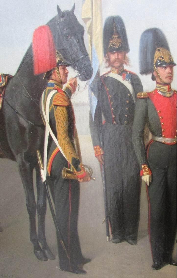Штаб-горнист, знаменосец и обер-офицер в парадной форме.