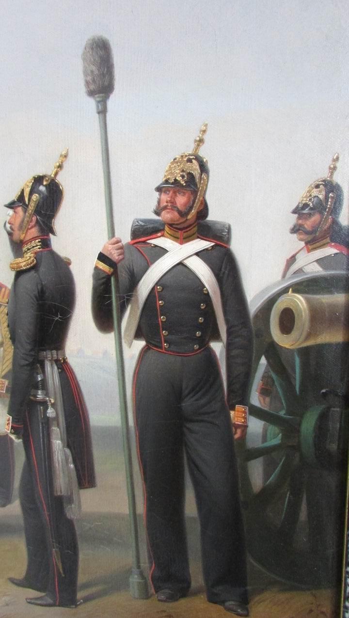 """Фрагмент картины """"Группа военных чинов 1й батареи Лейб-Гвардии 1й Артиллерийской бригады"""", 1855г."""