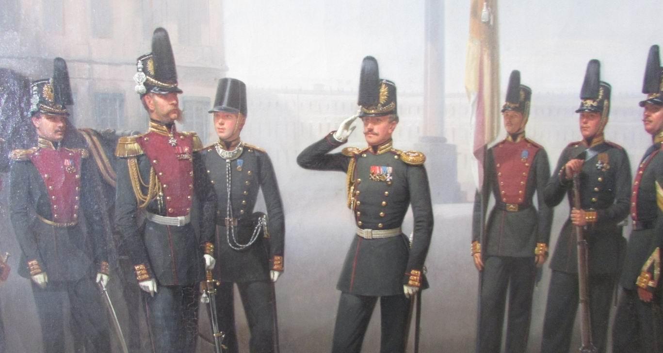 """Фрагмент картины """"Группа военных чинов Лейб-Гвардии 1го Стрелкового батальона"""", 1857г."""