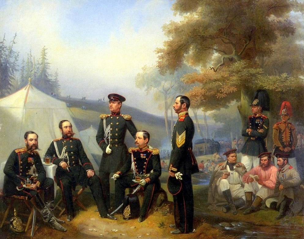 Изображен привал во время маневров. Офицеры пьют чай, солдат читает вслух книгу.