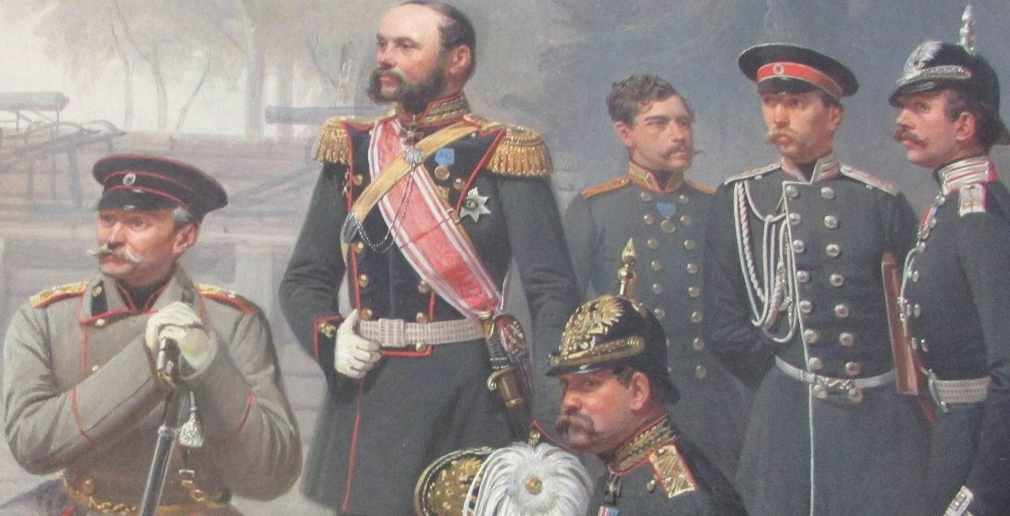 """Фрагмент картины """"Группа  чинов Гвардейской артиллерии"""", 1859г."""