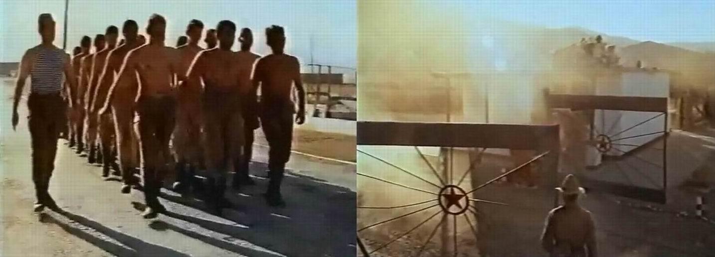Форма одежды - голый торс. Часовой на входе на базу в панаме для жарких регионов (один из символов Афганской войны) и кителе-шестьдесятдевятке.