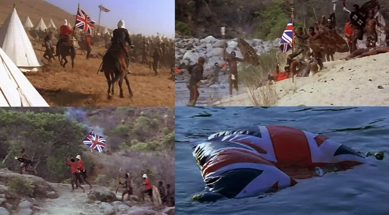 """Фильм """"Рассвет зулусов"""" 1979г. показывает классическую версию, и даже усиливает ее. Офицеры получают знамя от Пуллейна в полном порядке и с церемониями, едут вдвоем, переносят его через реку. Это потребовало объяснения почему знамя не попало в руки врага. По фильму зулусы захватили знамя, но меткий выстрел умирающего Верекера отправил его на дно реки."""