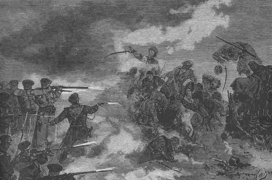 """""""Наша взяла!"""". Ночная атака текинцев, удачно отбитая 74м пехотным Ставропольским полком. 4 января 1881г."""