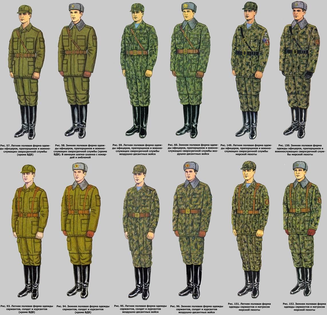 Если вкратце, то покрой ВДВ отличался отсутствием нижних накладных карманов на летней куртке (чтобы заправлять полы в брюки), а нарукавные карманы на зимней куртке врезные, а не накладные, как у морской пехоты и остальных.