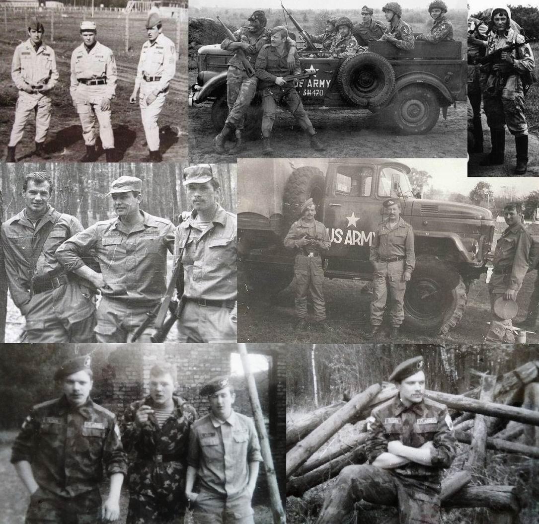 """Спецназовцы на учениях с самодельными шевронами, планками и нашивками изображают """"противника"""", в центре вверху (на джипе) - поляки из НВП в той же роли."""