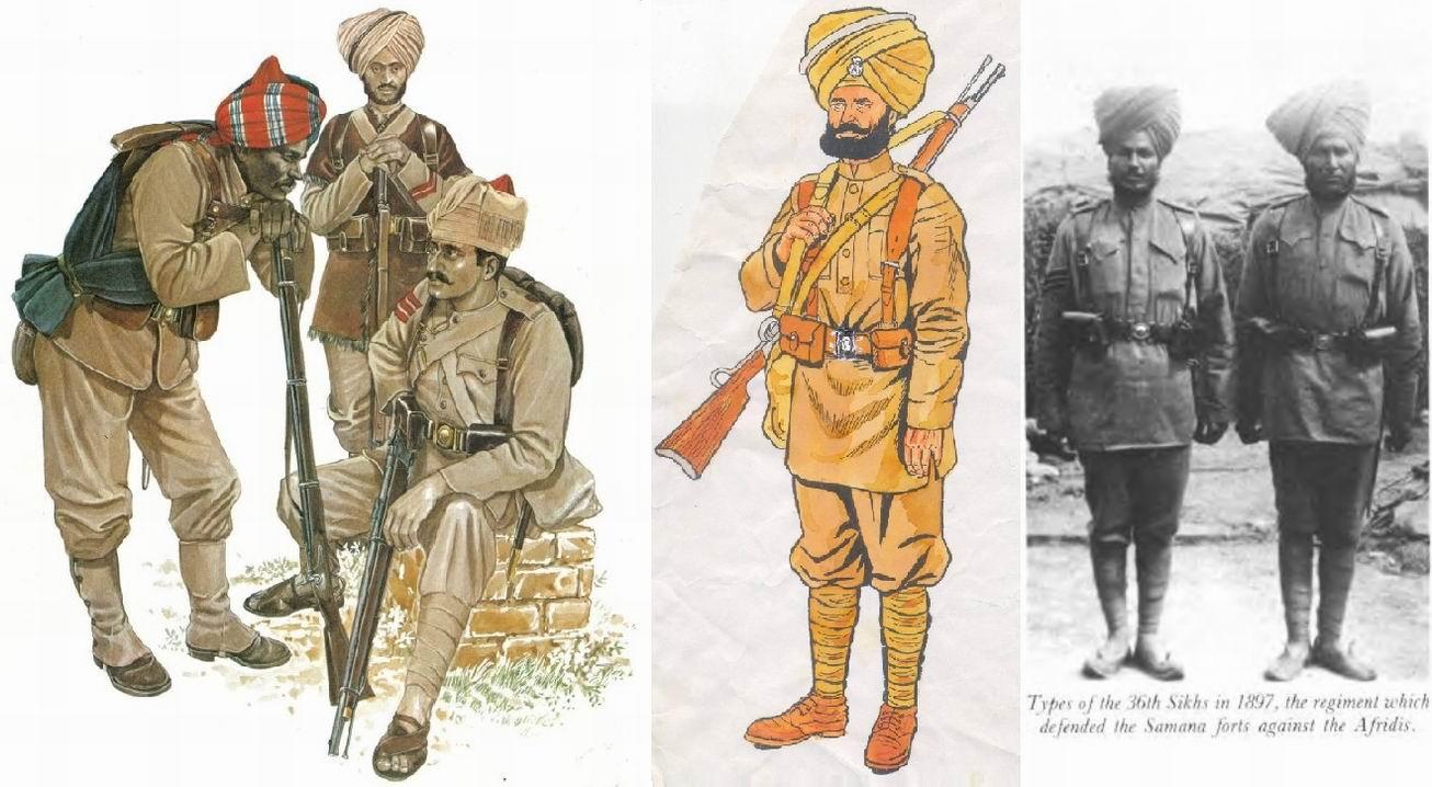 На рисунке слева сипай 36го полка посередине позади.