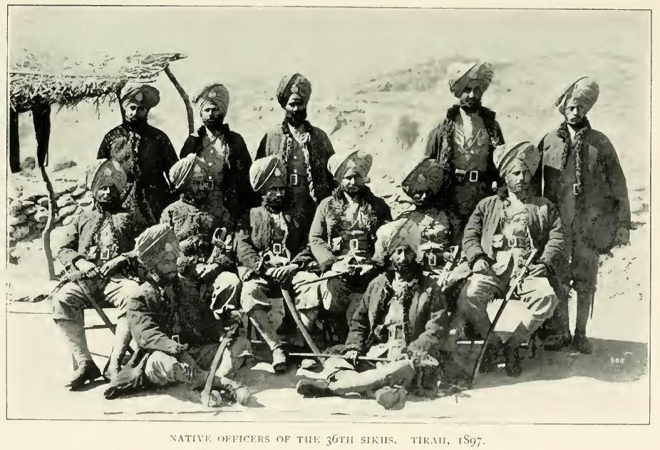 Индийские офицеры 36го Сикхского полка, Тирах, 1897г.