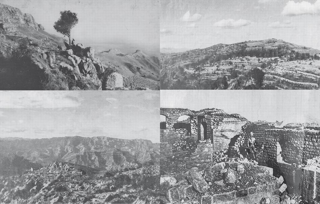 Слева вверху - вид в сторону Сарагархи с Гюлистана. Вверху справа - вид в сторону Локхарта с Сарагархи. Внизу слева - вид на земли оракзаев с Сарагархи. Внизу справа - развалины Сарагархи спустя несколько дней после боя.
