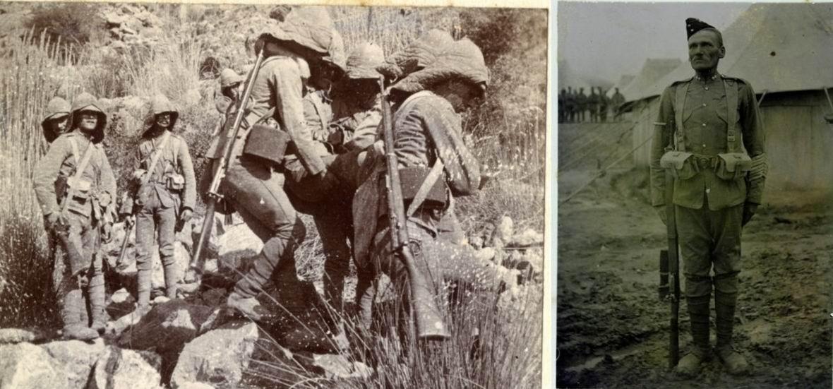 Солдаты Королевского Ирландского полка во время Тирахской экспедиции, 1897г.