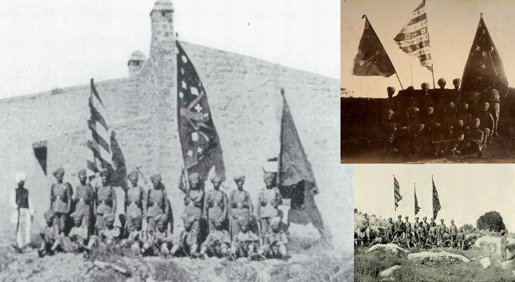 Защитники Гюлистана с трофейными знаменами, 1897г.